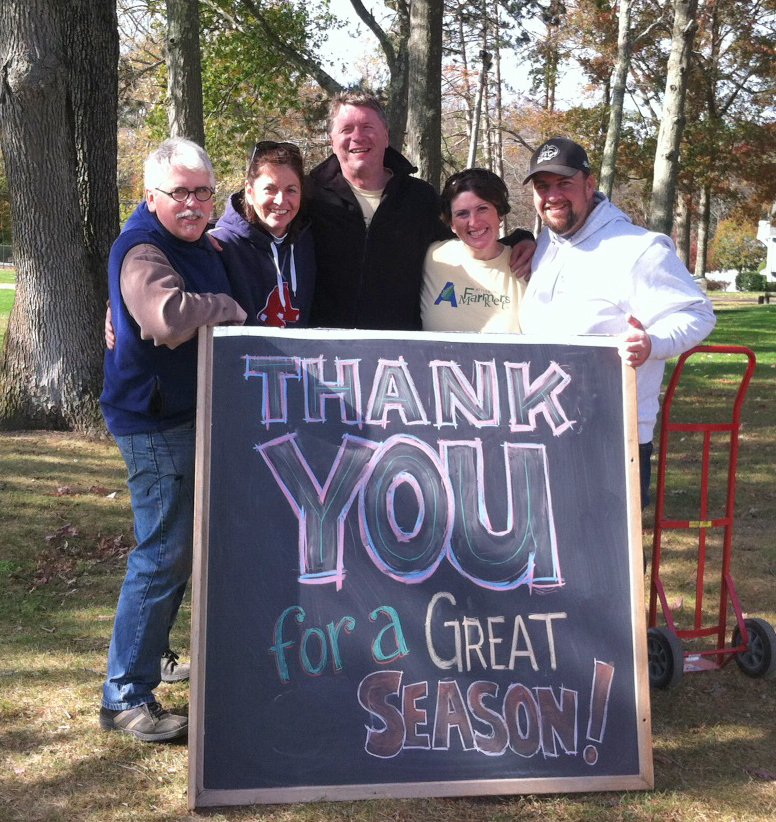 Attleboro Farmers Market Board Members thank the Market customers and vendors for another successful season. Pictured from left, David Laferriere, Virginia Stuart-Flynn, Geoff McGehee, Heather Porreca and Eddie Porreca. Other board member not present, Jed Smith, Jim and Lisa Thomson.