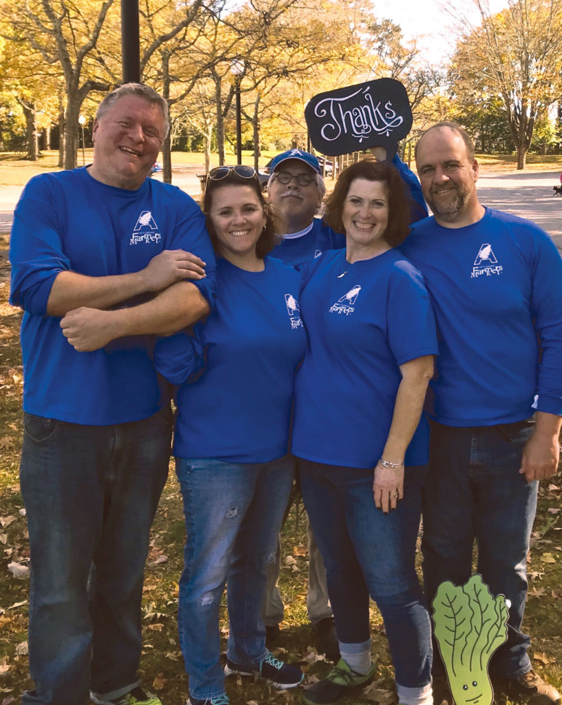 The Attleboro Farmers team Pictured from left, Geoff McGehee, Vicki May, David Laferriere, Heather Porreca, Eddie Porreca and Romi